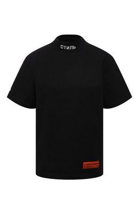 Женская хлопковая футболка HERON PRESTON черного цвета, арт. HWAA021R21JER0011001 | Фото 1