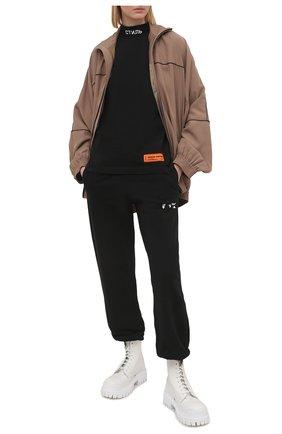 Женская хлопковая футболка HERON PRESTON черного цвета, арт. HWAA021R21JER0011001 | Фото 2