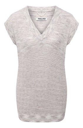 Женский хлопковый жилет MAX&MOI светло-бежевого цвета, арт. E21PAL0MA | Фото 1 (Женское Кросс-КТ: Жилет-одежда; Материал внешний: Хлопок, Лен; Длина (верхняя одежда): Короткие; Стили: Кэжуэл)