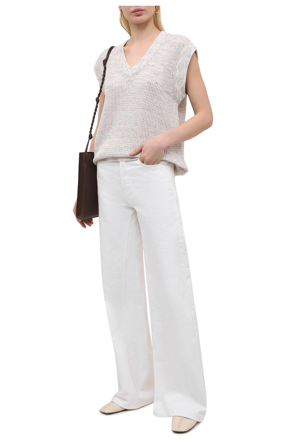 Женский хлопковый жилет MAX&MOI светло-бежевого цвета, арт. E21PAL0MA | Фото 2 (Женское Кросс-КТ: Жилет-одежда; Материал внешний: Хлопок, Лен; Длина (верхняя одежда): Короткие; Стили: Кэжуэл)