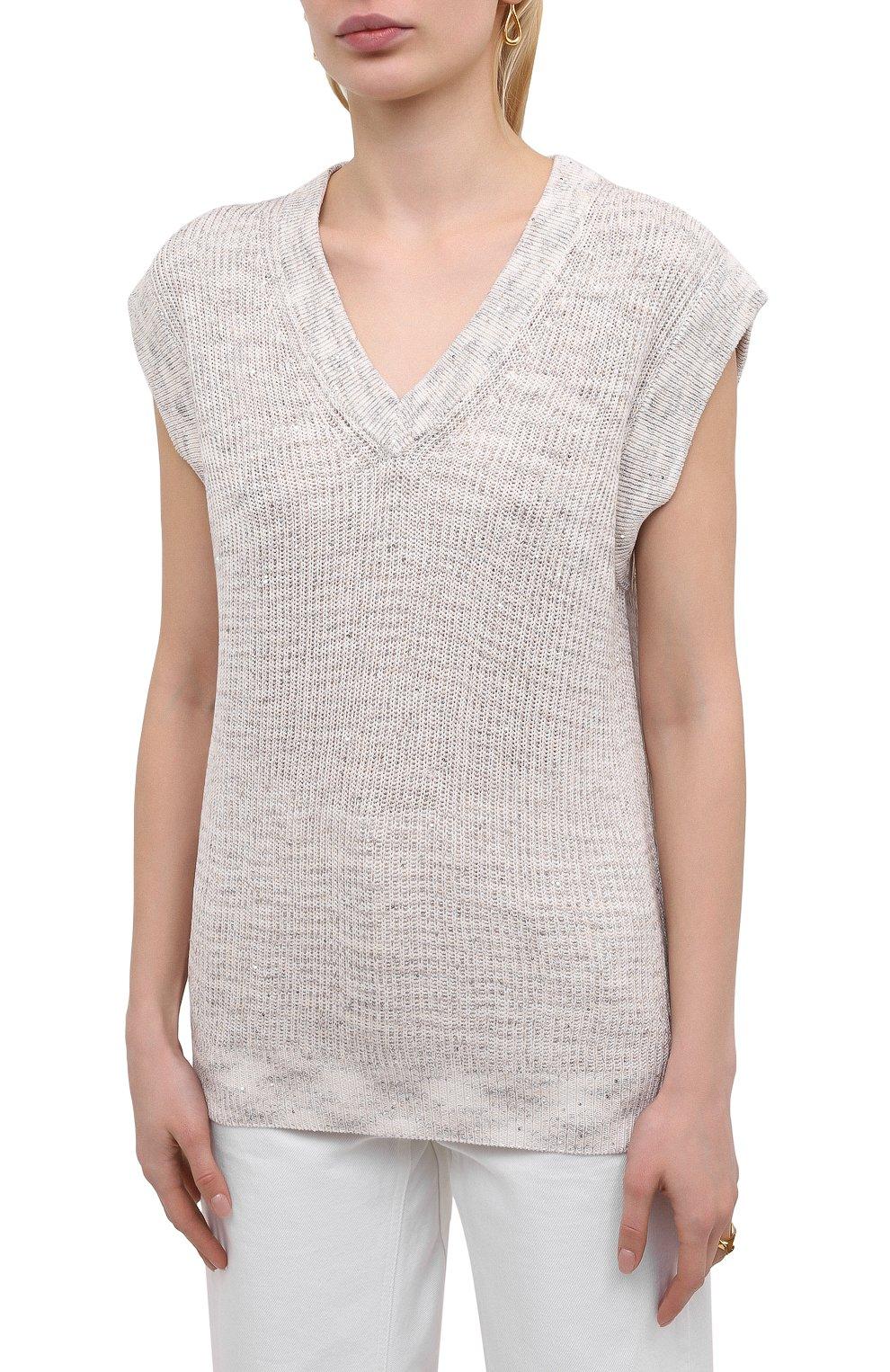 Женский хлопковый жилет MAX&MOI светло-бежевого цвета, арт. E21PAL0MA | Фото 3 (Женское Кросс-КТ: Жилет-одежда; Материал внешний: Хлопок, Лен; Длина (верхняя одежда): Короткие; Стили: Кэжуэл)