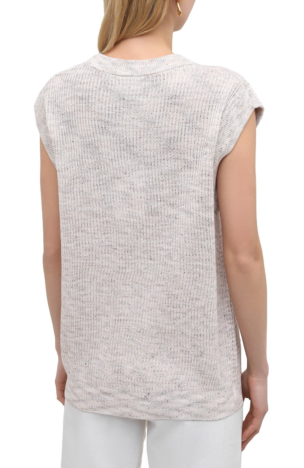 Женский хлопковый жилет MAX&MOI светло-бежевого цвета, арт. E21PAL0MA | Фото 4 (Женское Кросс-КТ: Жилет-одежда; Материал внешний: Хлопок, Лен; Длина (верхняя одежда): Короткие; Стили: Кэжуэл)