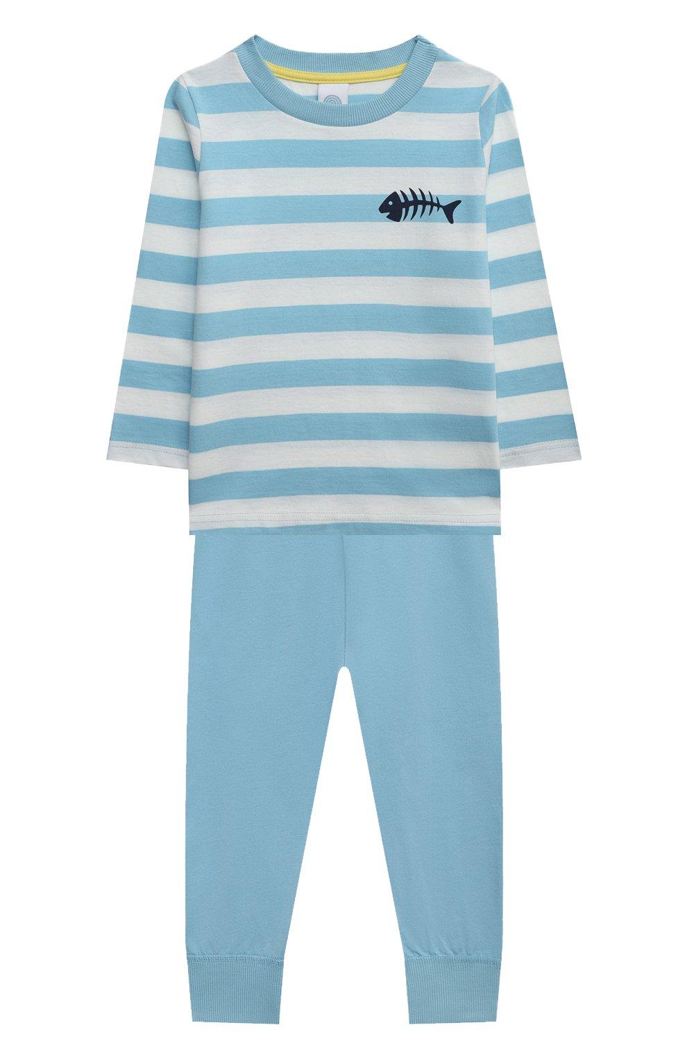 Женская хлопковая пижама SANETTA голубого цвета, арт. 232588. | Фото 1