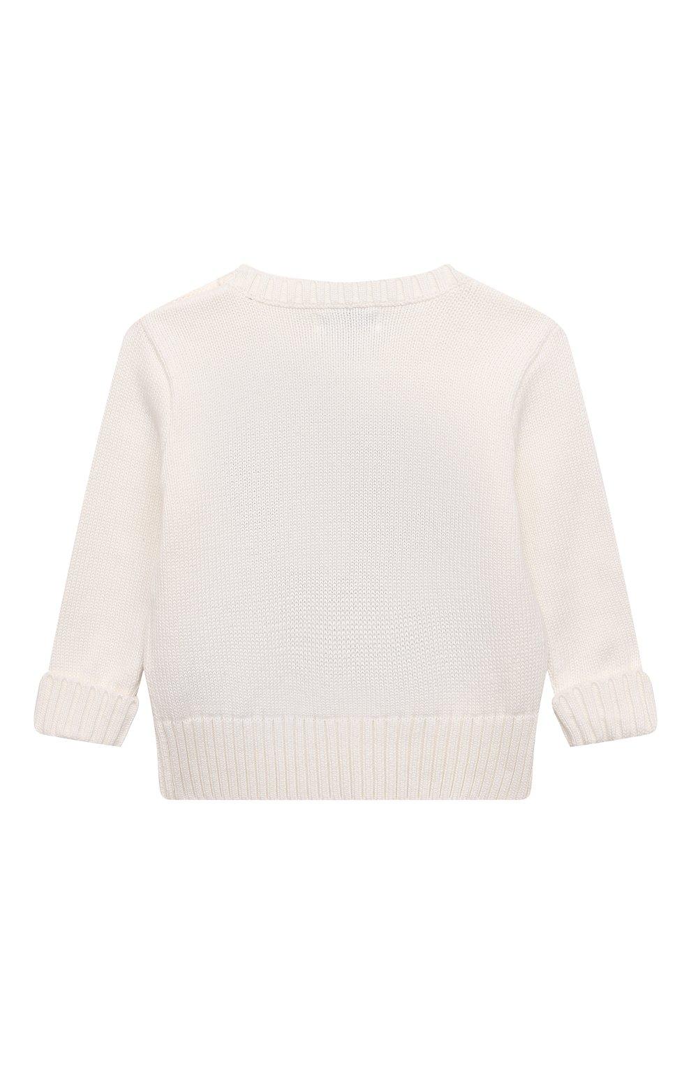 Детский хлопковый пуловер POLO RALPH LAUREN белого цвета, арт. 320669571 | Фото 2