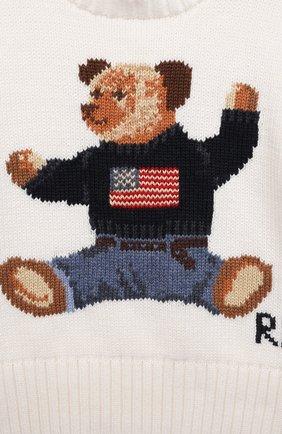 Детский хлопковый пуловер POLO RALPH LAUREN белого цвета, арт. 320669571 | Фото 3