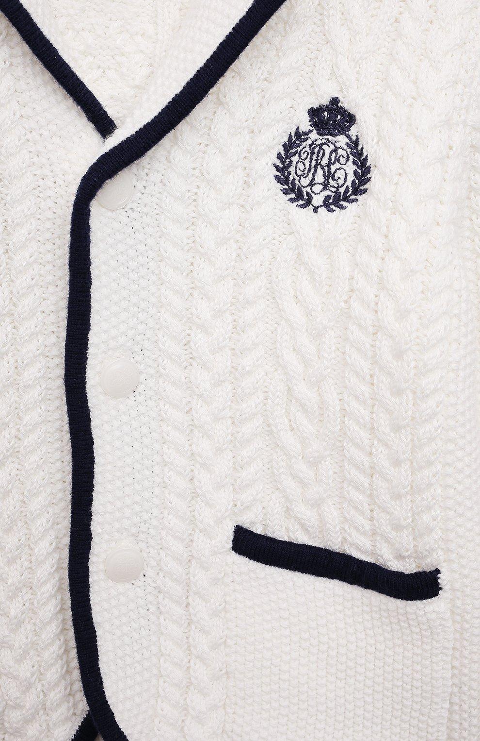 Детский хлопковый кардиган POLO RALPH LAUREN белого цвета, арт. 320835599 | Фото 3