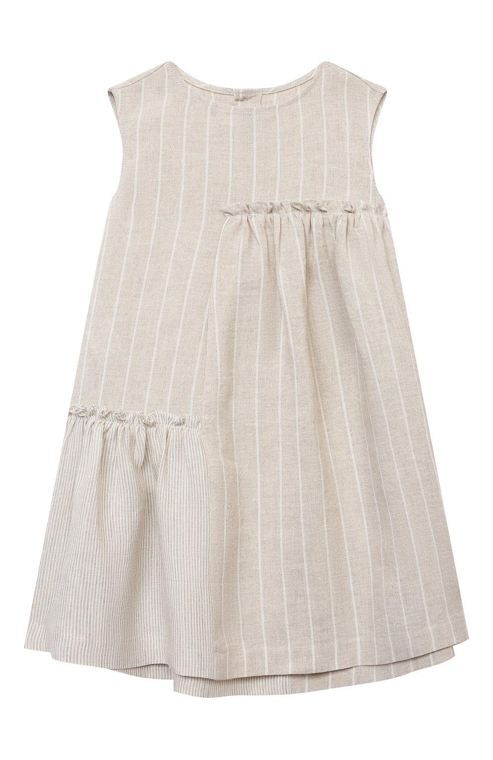 Детское льняное платье IL GUFO бежевого цвета, арт. P21VA206L1012/2A-4A   Фото 1