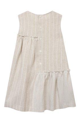 Детское льняное платье IL GUFO бежевого цвета, арт. P21VA206L1012/2A-4A   Фото 2