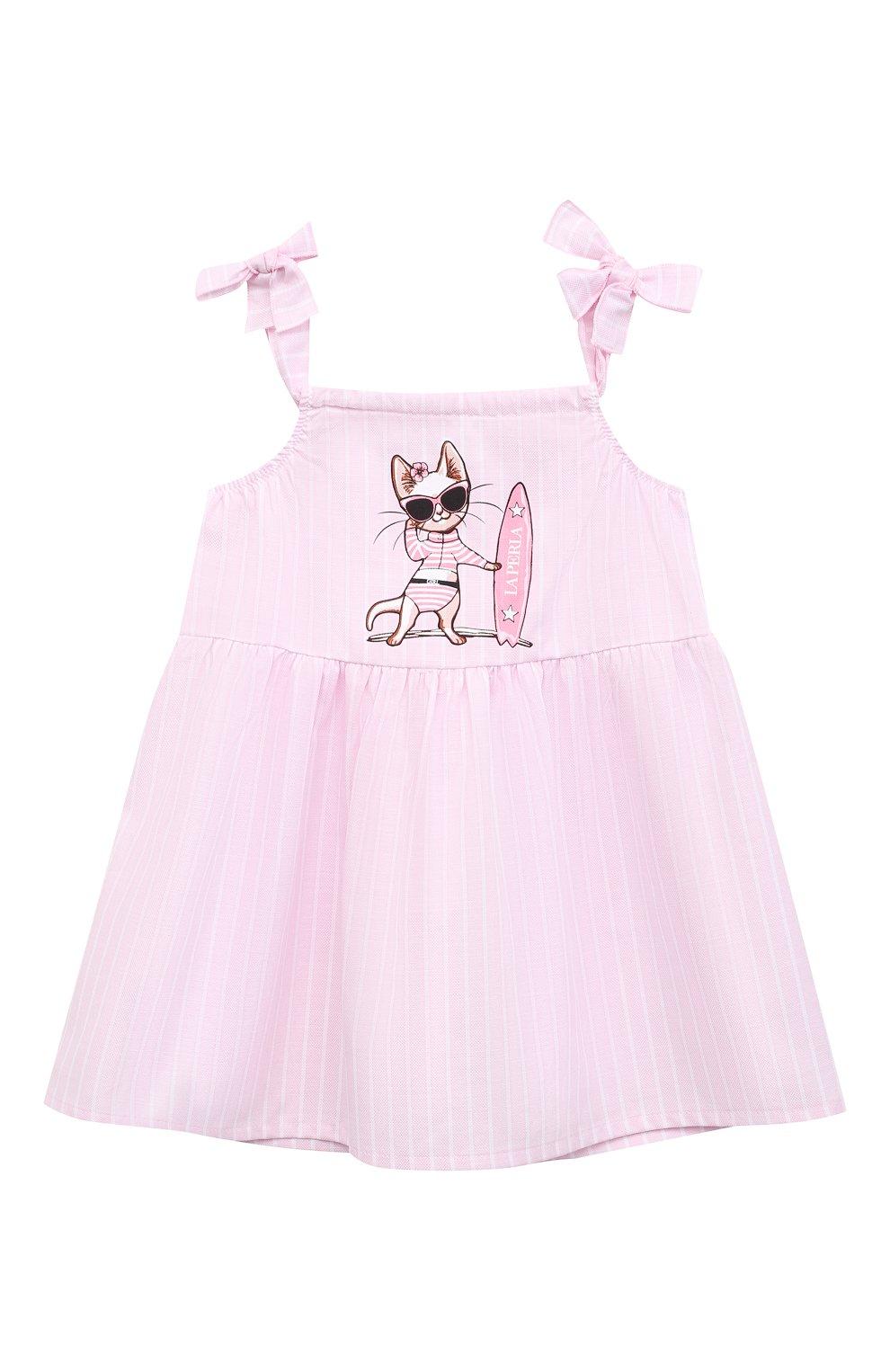 Женский хлопковое платье LA PERLA розового цвета, арт. 66565 | Фото 1