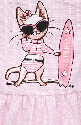 Женский хлопковое платье LA PERLA розового цвета, арт. 66565 | Фото 3
