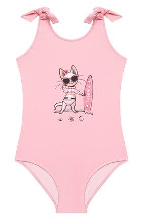Детского слитный купальник LA PERLA розового цвета, арт. 66569 | Фото 1
