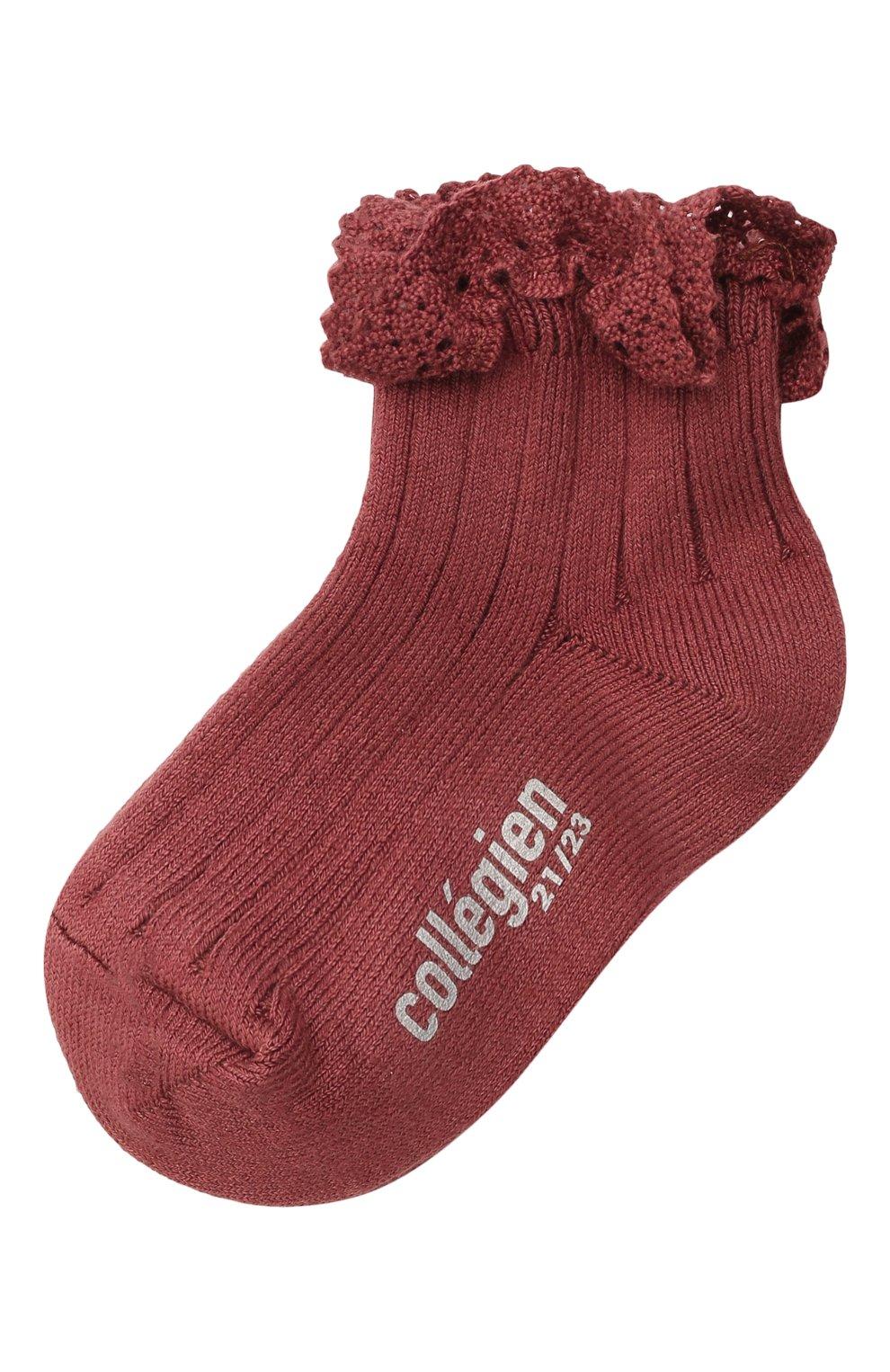 Детские хлопковые носки COLLEGIEN бордового цвета, арт. 3455/18-35   Фото 1 (Материал: Текстиль, Хлопок)