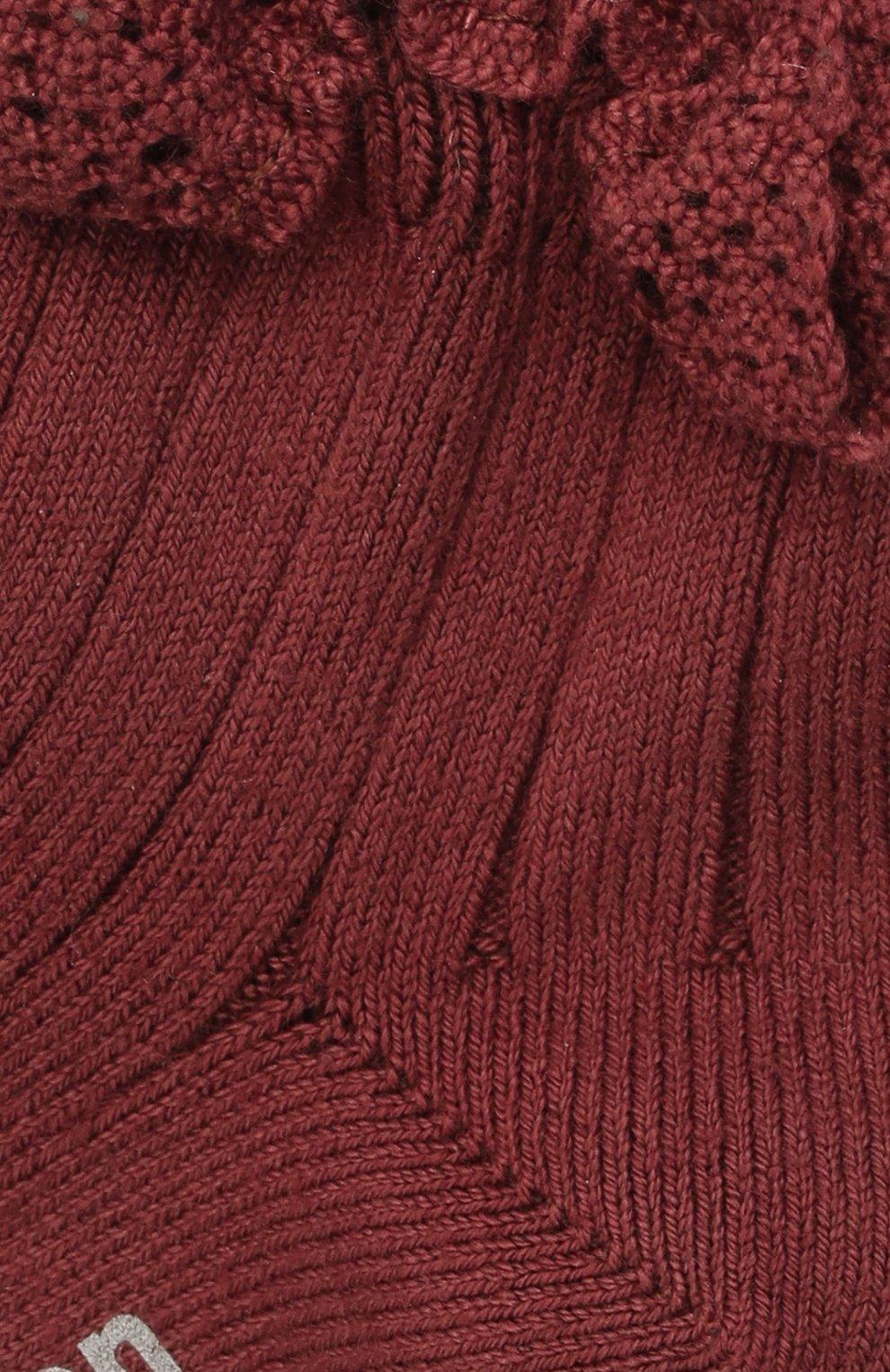 Детские хлопковые носки COLLEGIEN бордового цвета, арт. 3455/18-35   Фото 2 (Материал: Текстиль, Хлопок)