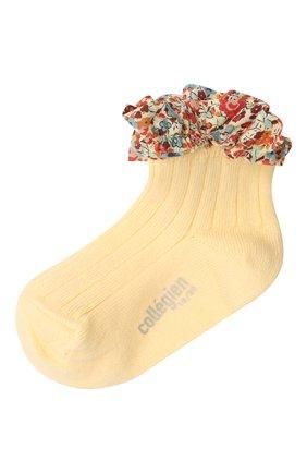 Детские хлопковые носки COLLEGIEN желтого цвета, арт. 3458/18-35 | Фото 1