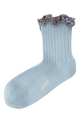 Детские хлопковые носки COLLEGIEN голубого цвета, арт. 3458/36-44 | Фото 1 (Материал: Хлопок, Текстиль)