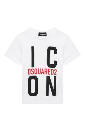 Детская хлопковая футболка DSQUARED2 белого цвета, арт. DQ0243-D002F | Фото 1