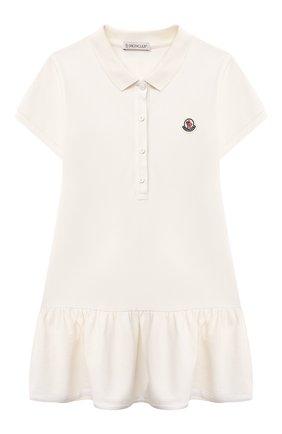 Детское хлопковое платье MONCLER белого цвета, арт. G1-954-8I700-10-8496F/8-10A | Фото 1