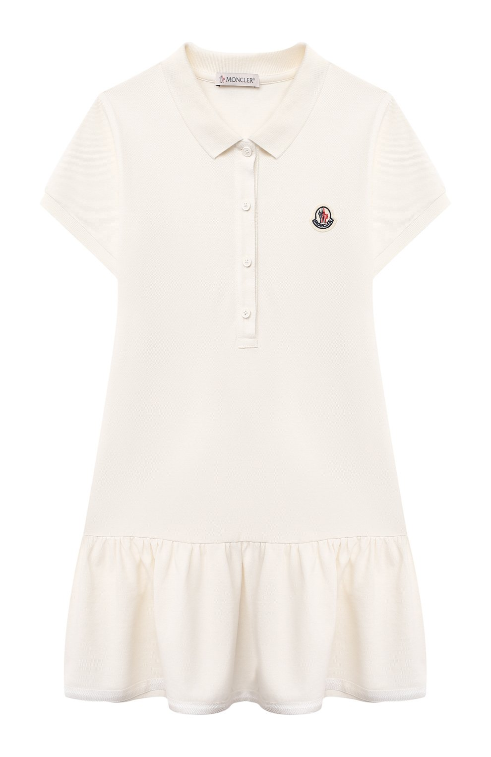 Детское хлопковое платье MONCLER белого цвета, арт. G1-954-8I700-10-8496F/12-14A   Фото 1