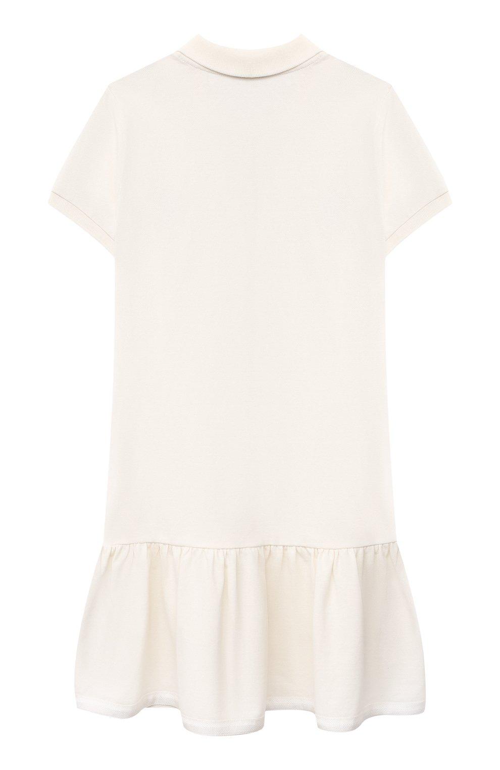 Детское хлопковое платье MONCLER белого цвета, арт. G1-954-8I700-10-8496F/12-14A   Фото 2