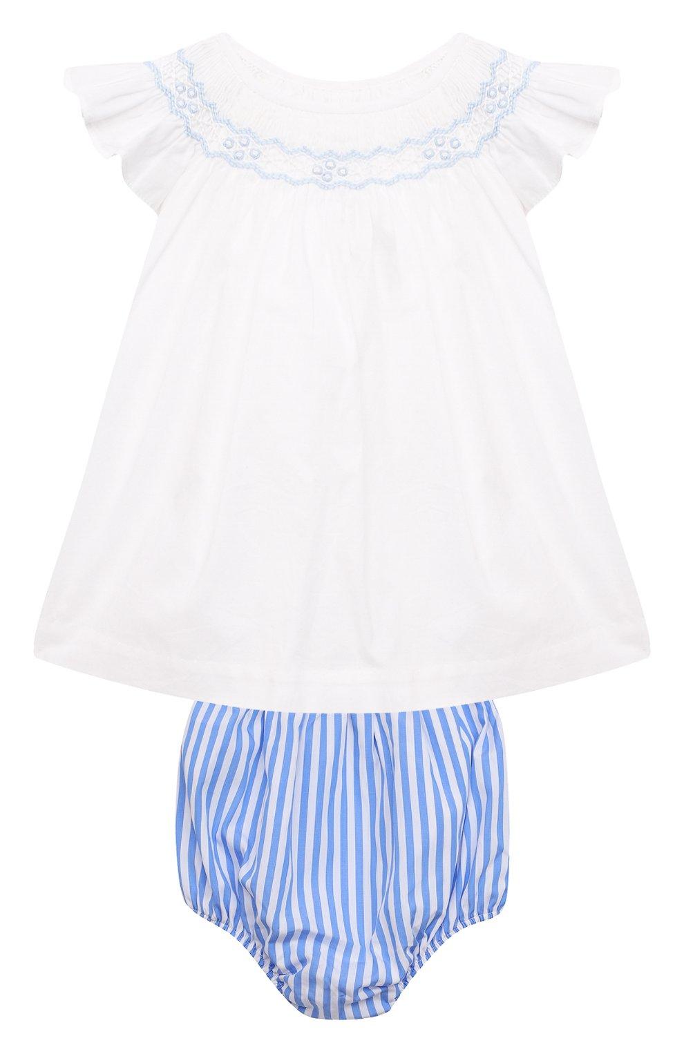 Детские комплект из платья и шорт POLO RALPH LAUREN разноцветного цвета, арт. 310835406   Фото 1