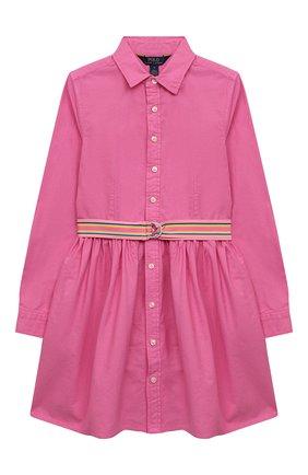 Детское хлопковое платье POLO RALPH LAUREN розового цвета, арт. 313835211 | Фото 1