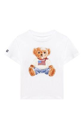Детский хлопковая футболка POLO RALPH LAUREN белого цвета, арт. 320746618 | Фото 1