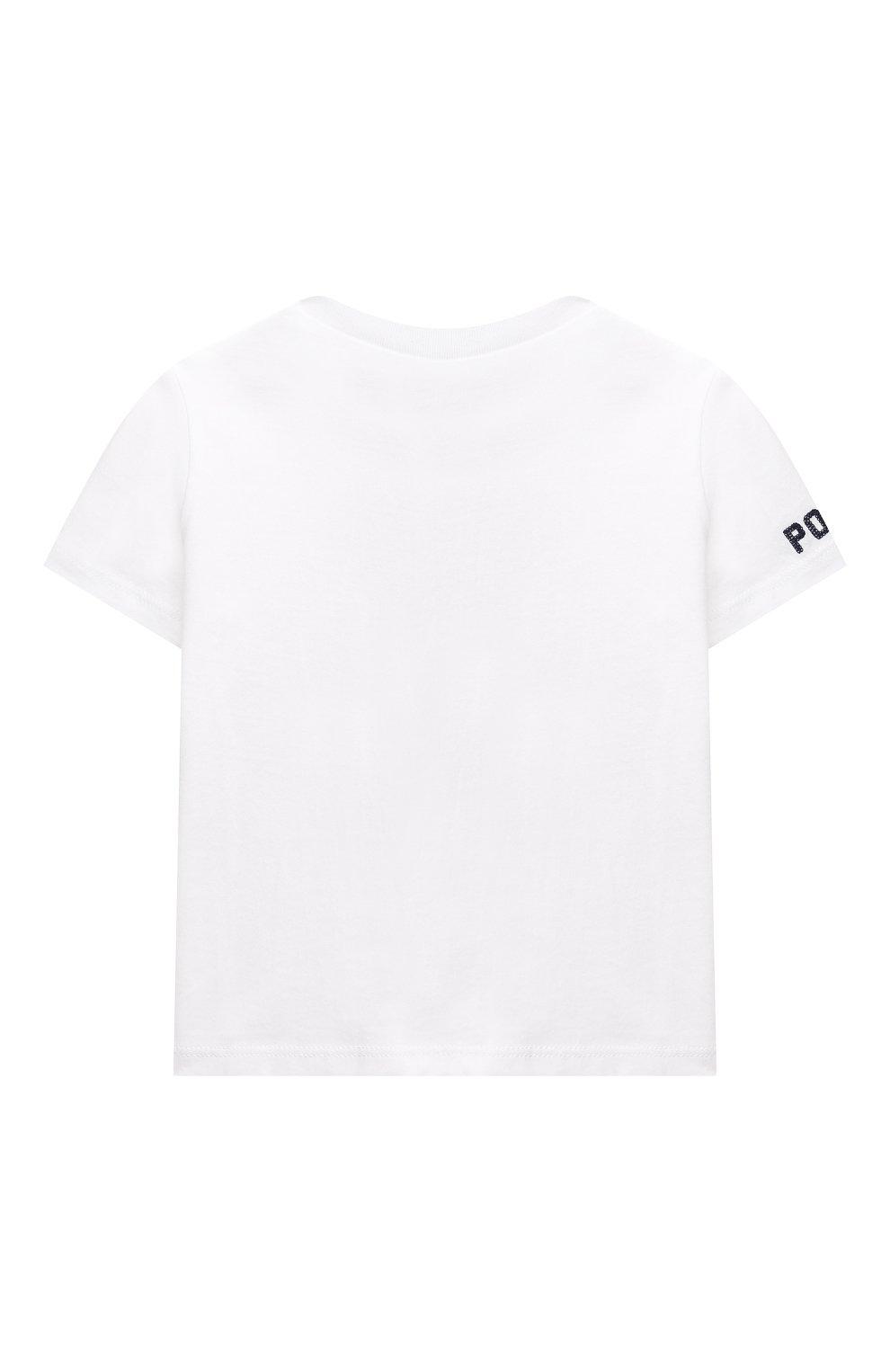 Детский хлопковая футболка POLO RALPH LAUREN белого цвета, арт. 320746618   Фото 2