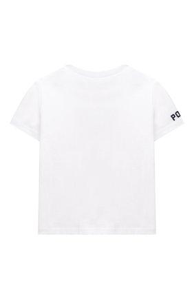 Детский хлопковая футболка POLO RALPH LAUREN белого цвета, арт. 320746618 | Фото 2