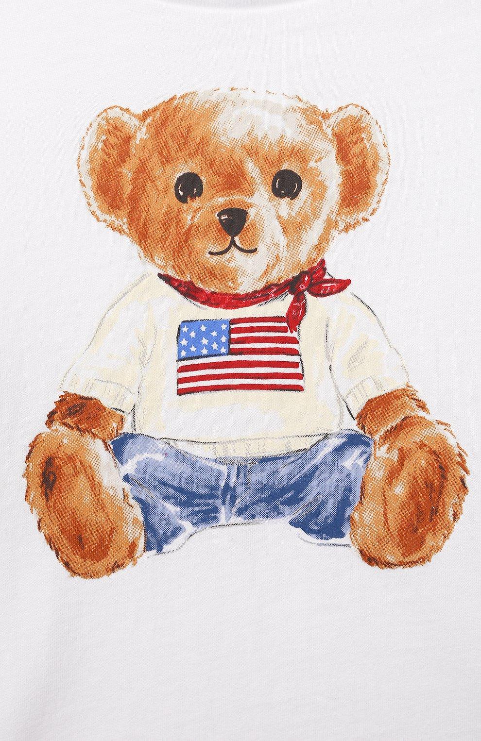 Детский хлопковая футболка POLO RALPH LAUREN белого цвета, арт. 320746618   Фото 3