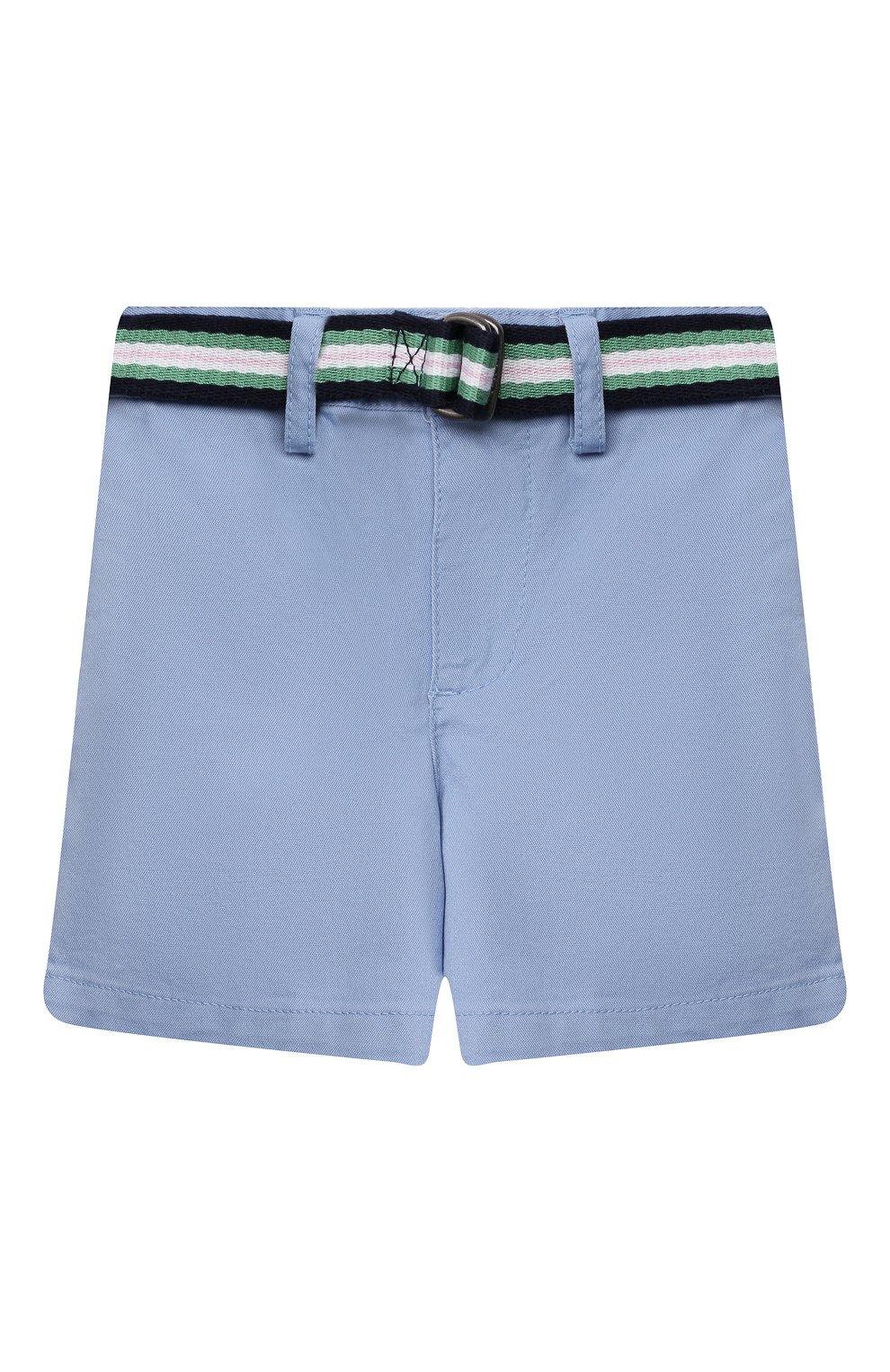 Детские хлопковые шорты POLO RALPH LAUREN голубого цвета, арт. 320832061 | Фото 1