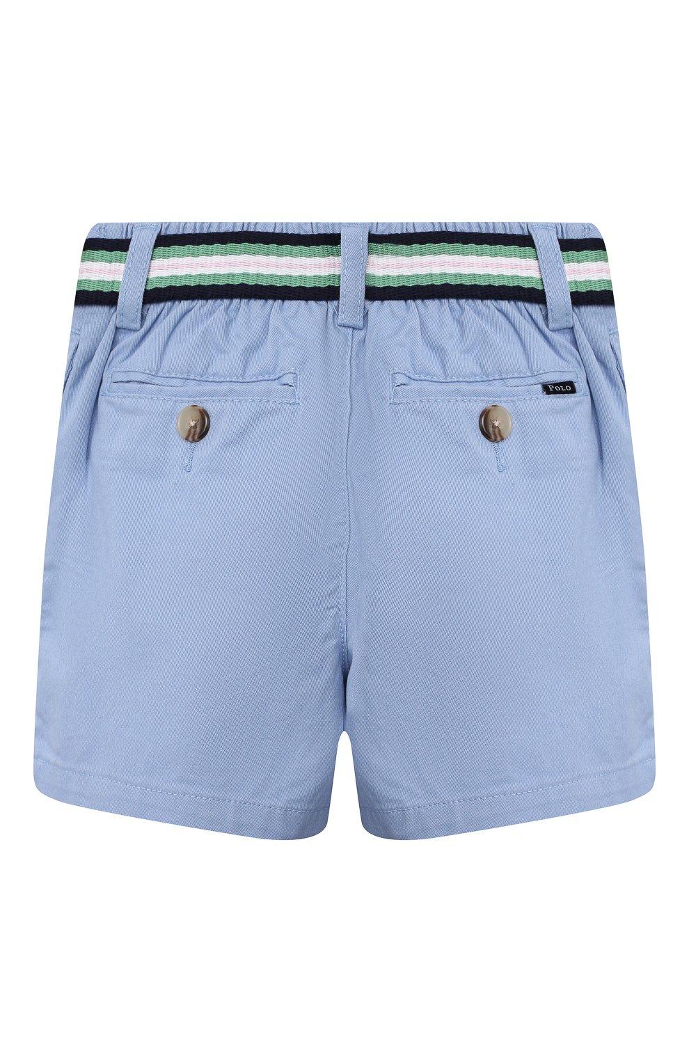 Детские хлопковые шорты POLO RALPH LAUREN голубого цвета, арт. 320832061 | Фото 2