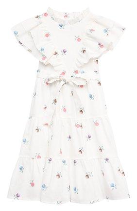 Детское платье из льна и хлопка PAADE MODE белого цвета, арт. 21210181/4Y-8Y | Фото 1
