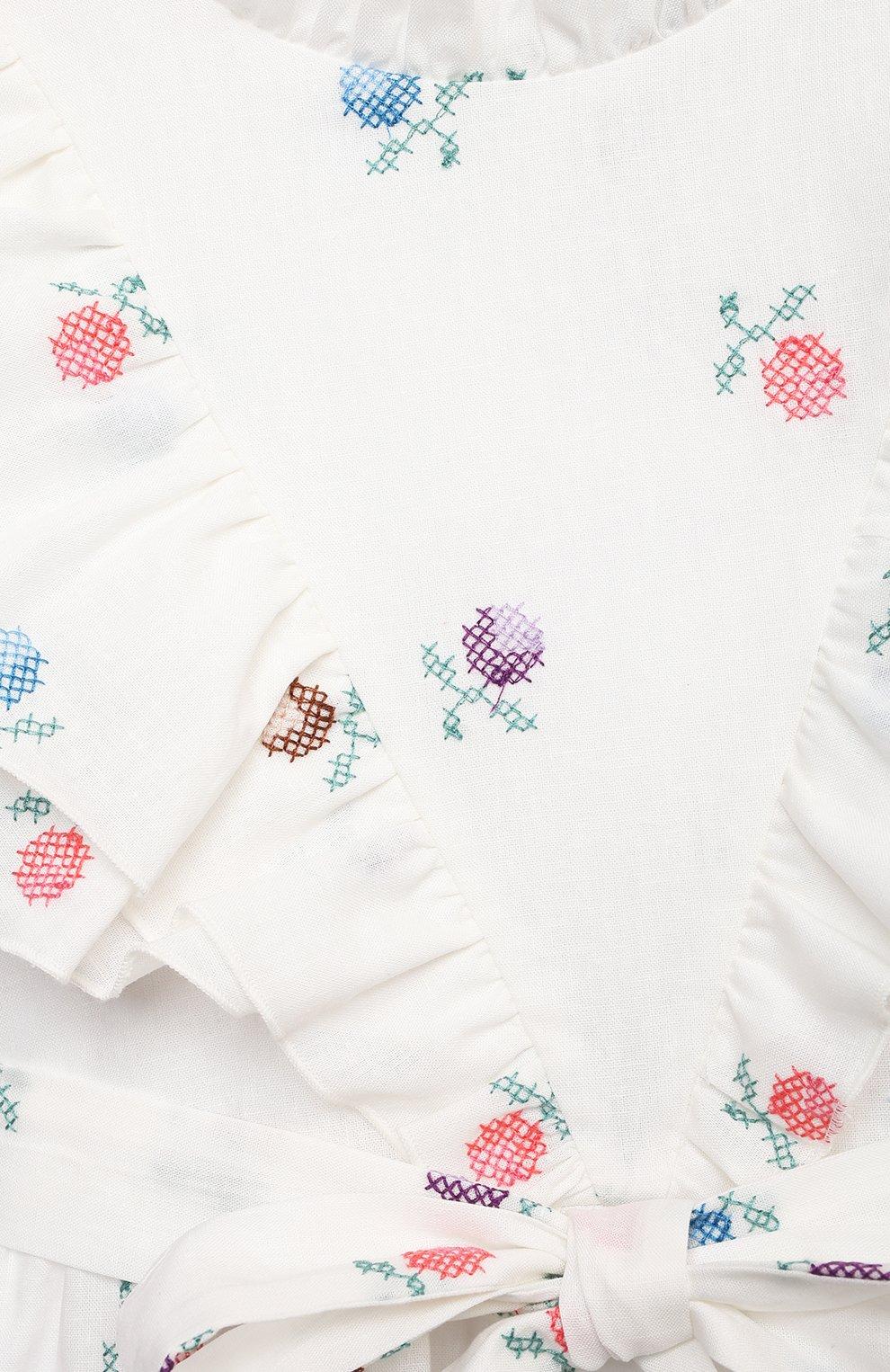 Детское платье из льна и хлопка PAADE MODE белого цвета, арт. 21210181/4Y-8Y | Фото 3