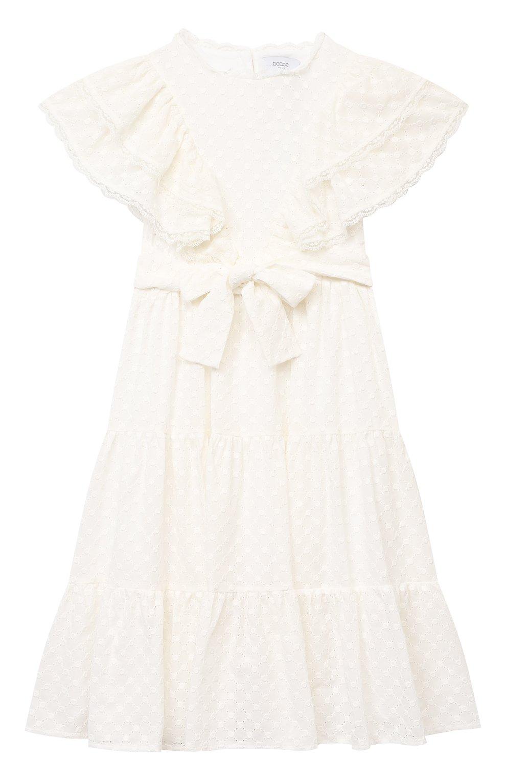 Детское хлопковое платье PAADE MODE белого цвета, арт. 21210184/10Y-14Y | Фото 1