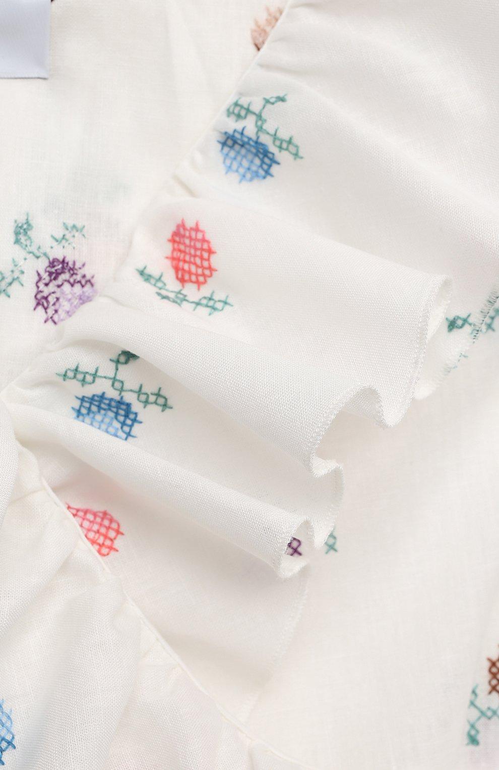 Детское платье из льна и хлопка PAADE MODE белого цвета, арт. 21210681/10Y-14Y | Фото 3
