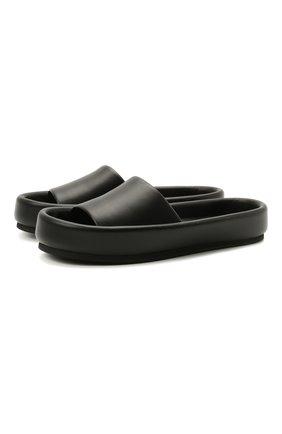 Женские кожаные шлепанцы venice pool slide KHAITE черного цвета, арт. F4012-723/VENICE   Фото 1