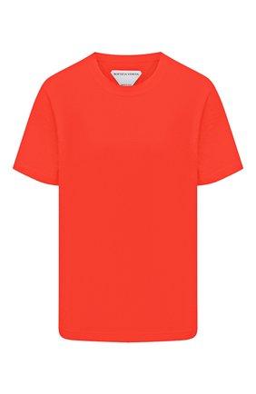 Женская хлопковая футболка BOTTEGA VENETA красного цвета, арт. 649060/VF1U0 | Фото 1