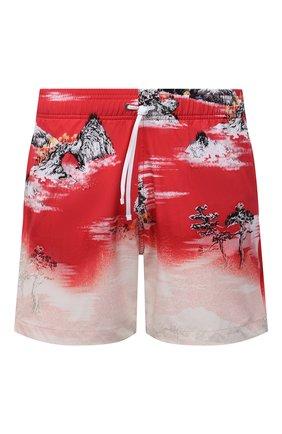 Мужские плавки-шорты AMIRI красного цвета, арт. MSF005-610 | Фото 1 (Мужское Кросс-КТ: плавки-шорты; Материал внешний: Синтетический материал; Принт: С принтом)