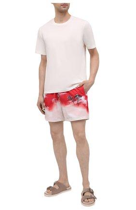 Мужские плавки-шорты AMIRI красного цвета, арт. MSF005-610 | Фото 2 (Мужское Кросс-КТ: плавки-шорты; Материал внешний: Синтетический материал; Принт: С принтом)