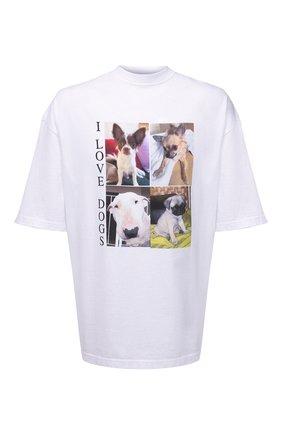 Мужская хлопковая футболка BALENCIAGA белого цвета, арт. 641614/TJVH1 | Фото 1 (Длина (для топов): Удлиненные; Принт: С принтом; Материал внешний: Хлопок; Стили: Гранж; Рукава: Короткие)