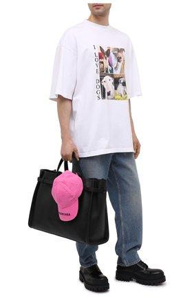 Мужская хлопковая футболка BALENCIAGA белого цвета, арт. 641614/TJVH1 | Фото 2 (Длина (для топов): Удлиненные; Принт: С принтом; Материал внешний: Хлопок; Стили: Гранж; Рукава: Короткие)