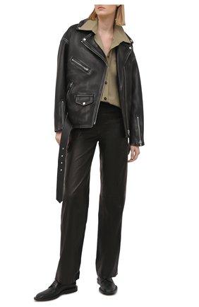 Женские кожаные брюки BATS черного цвета, арт. FW20/P_010 | Фото 2