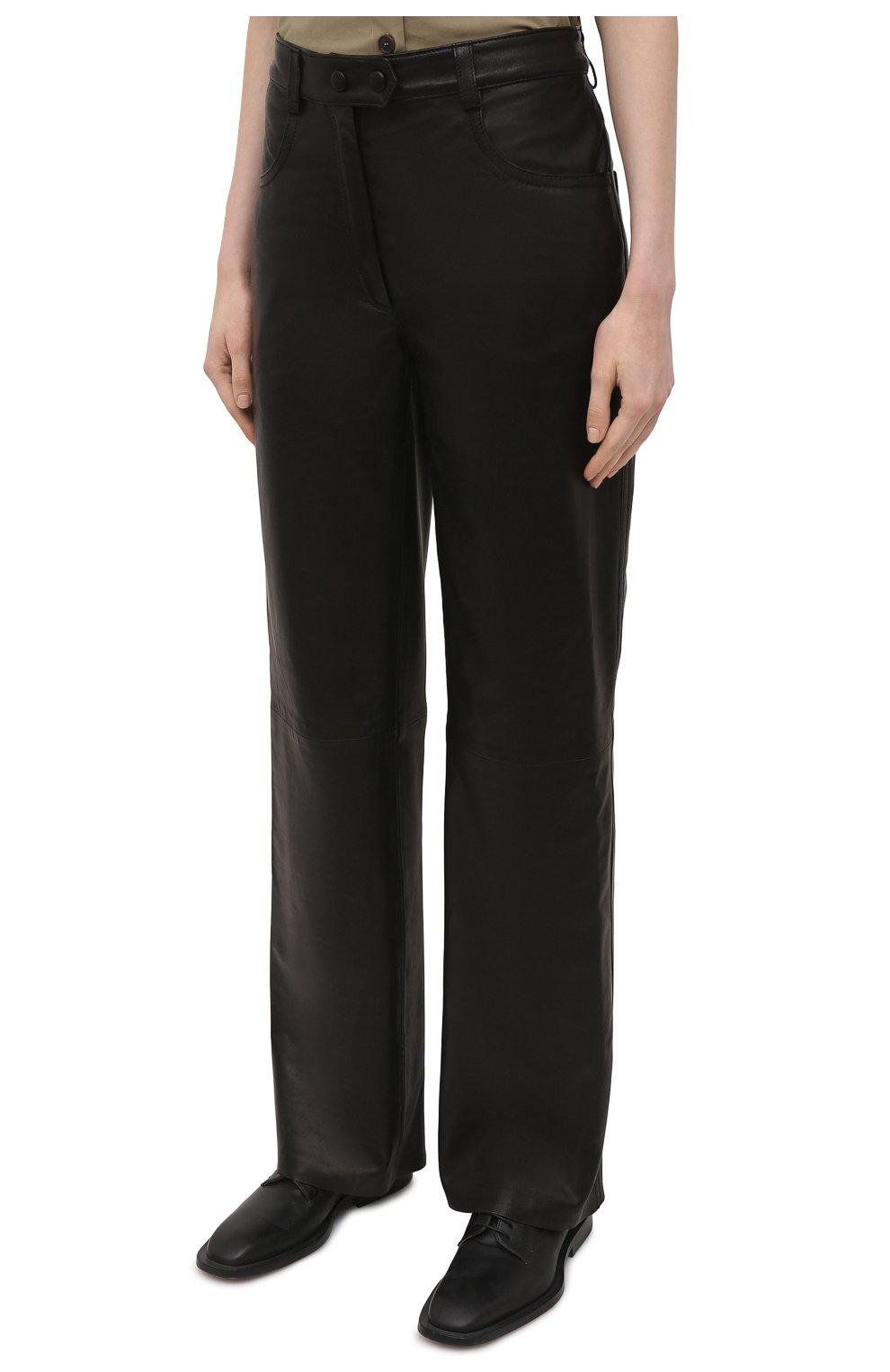 Женские кожаные брюки BATS черного цвета, арт. FW20/P_010 | Фото 3