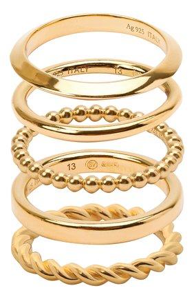 Женское набор из пяти колец BOTTEGA VENETA золотого цвета, арт. 651270/VAHU0 | Фото 1