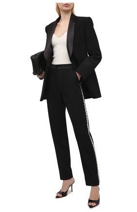 Женские шерстяные брюки BALMAIN черного цвета, арт. VF15248/167L | Фото 2
