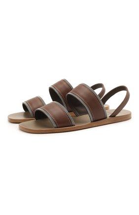 Женские кожаные сандалии BRUNELLO CUCINELLI коричневого цвета, арт. MZBSC1384 | Фото 1