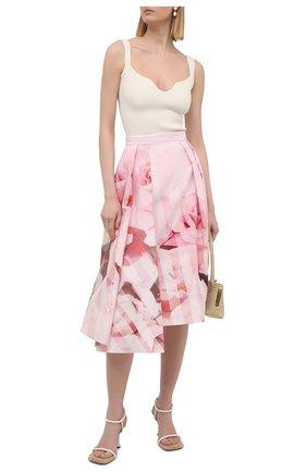 Женская хлопковая юбка ALEXANDER MCQUEEN розового цвета, арт. 651667/QCACC   Фото 2
