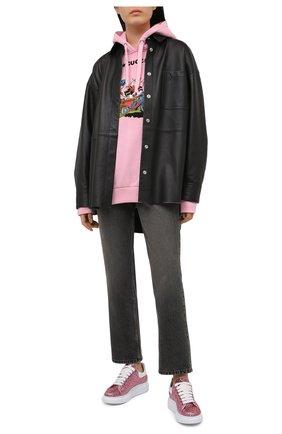 Женские комбинированные кеды ALEXANDER MCQUEEN розового цвета, арт. 558944/W4PZ1   Фото 2