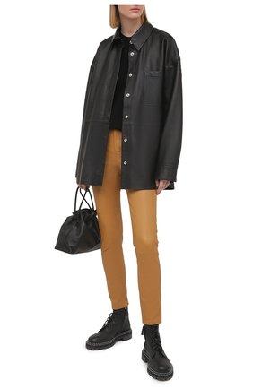 Женские кожаные брюки POLO RALPH LAUREN бежевого цвета, арт. 211782995 | Фото 2
