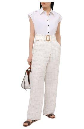 Женские льняные брюки GIORGIO ARMANI белого цвета, арт. 1SHPP0H9/T02FN | Фото 2